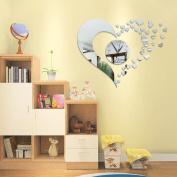 Childrens Room Love Heart Digital Wall Stickers Wall Decoration Wall Clock Mirror Wall Clock,B
