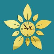 Ten Flower Stereo Wall Clock Acrylic Mirror Wall Clock Mirror Wall Stickers Clock, C