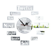 Wall Sticker Clock Box Digital Environment Protection Clock,Silver