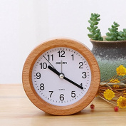 OUMAIG The Living Room Decoration Wood Simple Fashion Creative Student Bedroom Bedside Desk Clock,Circular