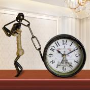 Edge to table Clock European Antique Mute Wrought Iron Clock Living Room Creative Fashion Personality Clock Art Deco Vintage Quartz Clock