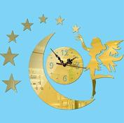 PriMI Living Room DIY Acrylic Mirror Moon Girl Clock-Gold
