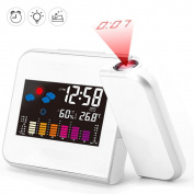 Digital Projection Clock,Ceiling / Wall Projection Alarm Clock with LED Display Screen & Hygrometer Indoor Temperature USB Charging Port White