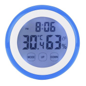 ZTYR Touch Screen Temperature Hygrometer, Timer Alarm Clock With Temperature And Humidity Display, Indoor And Outdoor Home Wall-Mounted Hygrometer , blue
