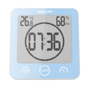 BALDR New Design LCD Waterproof Timer Shower Clock Bathroom Clock Wall Mounted, Displays Time, Temperature, and Indoor Relative Humidity