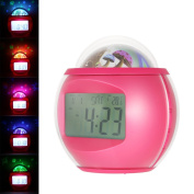 Decdeal Digital Alarm Clock with Star Sky Projection Music Clock with Backlight Night Light Calendar Thermometer Timer Function