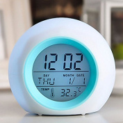 LanLan LED Colour Changing Electronic Clock with Thermometer Battery Powered Digital Display Alarm Clock Calendar