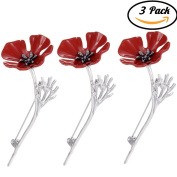 CosCosX 3 Pcs Poppy Brooch for Women and Men, Silver