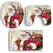 Sixcup® Christmas White World Scene Dyeing Santa Claus toilet seat cover & rug & Tank Cover Christmas Decor