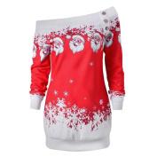 novelty christmas decorations sale clearance Hirolan Merry Christmas Santa Snowflake Print sweatshirt jumper pullover x-mas shirt christmas gifts vintage christmas dress up long sleeve party blouse