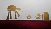 "Star Wars "" Mouse vs ATAT "" Skirting Board Vinyl Decal Sticker Wall Art Gold Vinyl Decal ..UKSELLINGSUPPLIERS"