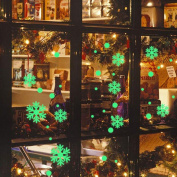 VENMO Glow in the Dark Christmas Window Vinyl Decals Clings Snowman Snowflakes Christmas Wall Art Stickers Removable Murals Indoor Home Wall Decor