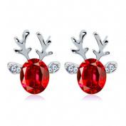 SetMei Crystal Gemstone Earrings Luxury Three Dimensional Christmas Reindeer Earing