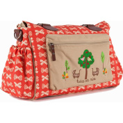 Pink Lining Twins Baby Changing Nappy Bag - Cream Bows on Red