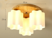 Home mall- Solid Wood Ceiling Lamp Modern Fashion Living Room Bedroom Kitchen Children's Room Light E27