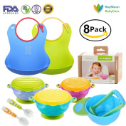BABY FEEDING BOWLS with TODDLER BIBS UTENSILS - Ultimate Baby Feeding Set | Stay Put Suction Baby Bowls Set |Adjustable Silicone Baby Bibs |Mash and Serve Bowl | Baby Utensils | Perfect Baby