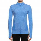 SEEU Women's Long Sleeve Running Top Women Yoga Tops Full Zip with Pockets Quick Dry Casual Sports Jackets - Tumbholes Keep Body Warm