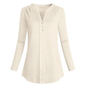 Toamen Newest, Women's Long Sleeve V Neck Pleat Solid Casual Blouse, Loose Tops T-Shirt