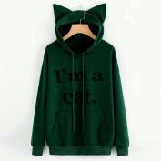 Toamen I'm a Cat, Womens Autumn Winner Long Sleeve Cute Cat Ears Hoodie Sweatshirt Hooded Pullover Tops Blouse