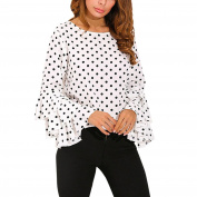 Fashion Women's Polka Dot Shirt Ladies Long Bell Sleeve Loose Casual Blouse Tops