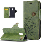 Nokia 6 Case,Nokia 6 Cover,ikasus 3D Relief Embossing Rose Flower Floral Pattern Premium PU Leather Fold Wallet Pouch Case Wallet Flip Cover Bookstyle Magnetic Closure Retro Leather Buckle Stand Card Slots Protective Case Cover for Nokia 6,Green