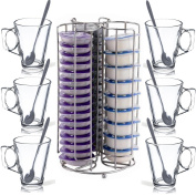 Docle Gusto 24 Capsule Coffee Pod Holder Tower Stand Rack + 4 FREE Latte Glasses!