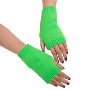 Webla Women Girl Various Colour Wool Knitted Arm Wrist Warmer Fingerless Winter Warm Soft Gloves Mitten