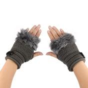 Webla Women Warm Winter Faux Fur Fingerless Gloves Knitting Wool Button Wrist Warmer Mittens