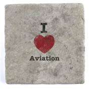 I Love Aviation - Marble Tile Drink Coaster