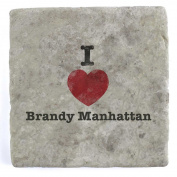 I Love Brandy Manhattan - Marble Tile Drink Coaster