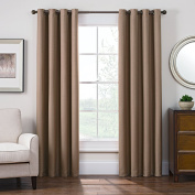 Keeco Domain Grommet Style Room Darkening Window Panel, Solid Satin, 130cm x 160cm , Linen, 52 x 63