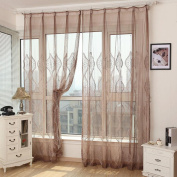 Embroidered Curtains Window Screen Upscale Finished Fabric Gauze Shade , coffee , 140*240cm