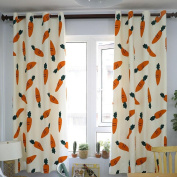 Blackout Curtains Bedroom Carrot Printing Simple Living Room Curtains , colourful , 140*215cm