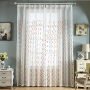 Window Curtains For Living Room Bedroom Study Polyester Embroidery Transparent Curtain , brown , W200*H270CM