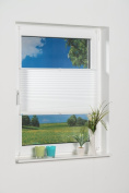 K Home Protection Against Light Easyfix Pleated Blind With 'Klemmfix' Clamps (No Drilling Necessary, Fabric, white, 130 x 110 cm