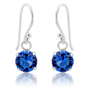 DTPSilver - 925 Sterling Silver and Crystal Elements Round Dangle Earrings - Colour : Blue Sapphire