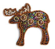 Black Porcelain and Glass Beads Women Fantasy – Elan Caribou Moose Deer Reindeer Brooch