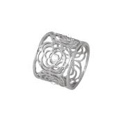 Monet Clear Crystal Silver Tone Scarf Ring
