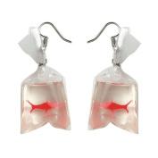 Pu Ran Women Funny Goldfish Water Bag Shape Dangle Hook Earrings Charm Jewellery Gift