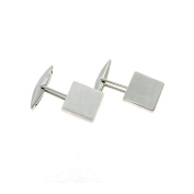 Smooth Cufflinks Square 925 Sterling Silver White Gold Plated Hypo-Allergenic