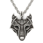 Unique Handmade Antique Silver Viking Wolf Pendant Head Necklace Metal Chain