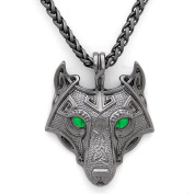 Unique Viking Wolf Head Pendant Necklace Emerald Green Eyes Handmade Antique Grey