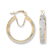 Yellow Gold Round Two Row Crystal Hoop 19mm Approx Diameter
