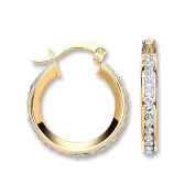 Yellow Gold Round Crystal Hoop 14mm Approx Diameter