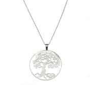 White Gold Plated 925 Sterling Silver Tree of Life Pendant Necklace
