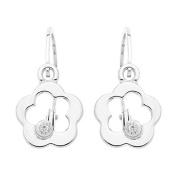 diamantly Earrings Flower Grey Gold 375/1000