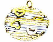 PEGASO Jewellery 18 kt Yellow and White Gold Pendant – Central Pendant Round with Hearts Women Girl