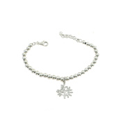 5 MM Ball Bracelet with Tree of Life Pendant 925 Sterling Silver with White Cubic Zirconia,