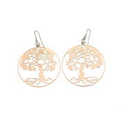 Earrings with Tree of Life Pendant, Sterling Silver 925 POMPEIANA Clasp, Rose Gold Plated