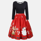 dresses for women plus size Hirolan christmas decorations sale gifts slim fit dress vintage cocktail criss cross party swing dress for girls Fashion Long Sleeve Strap Tops with novelty xmas print